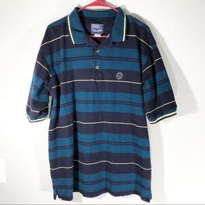 Wrangler TwentyX Black/Blue Striped Polo